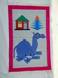 2x3 Pink Border Camel Front Of House Dhurrie Rug