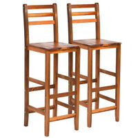 "Set of 2 Acacia Wood Patio Barstools 28.5"" Bar Stool Ladder Back Armless Outdoor"
