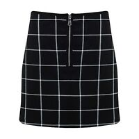 NEW WOMEN LADIES BLACK TARTAN CHECK PRINT SKATER SKIRTS SIZE 6,8,10,12,14
