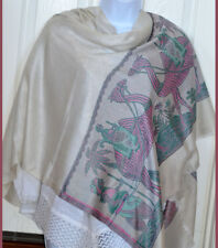 White Floral Design Pashmina Silk blend Shawl,Stole,Wrap with camel border India