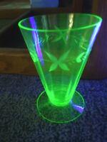 5 Five Etched Paneled Green Depression Glass Footed Tumblers ~ Uranium/Vaseline