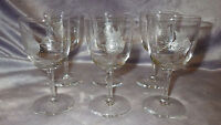 Vintage Crystal Cordial Glasses Etched Rose Design by Javit Crystal 6 5oz stems