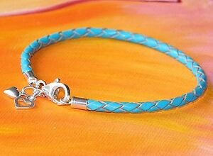 Ladies 3mm Turquoise leather & Sterling Silver charm bracelet by Lyme Bay Art