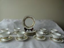 24 Oxford China GOLDEN DAWN Plates, Cups, Saucers Gold Floral by Lenox $384 SRP
