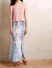 NEW Anthropologie Waimea Silk Maxi Skirt Maeve LARGE Blue Purple Print Women