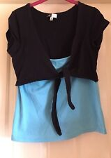 Active Black + Turquoise Double Look Top, Size 14-16 - Lovely!