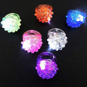 LED Light Up Jelly Bumpy Rings 24 count Assorted Colors.