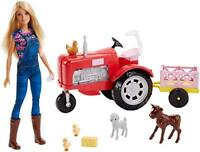 Barbie FRM18 Careers Farmer Tractor, Farm Yard Accessories, Blonde Doll Included