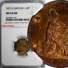 Great Britain Victoria Bronze 1873 Farthing NGC MS64 RB LAST YEAR TYPE KM# 747.2