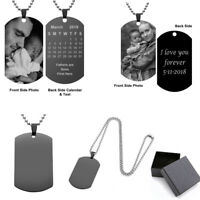 Personalized Engraved Custom DIY Photo Picture Dog Tags Pendant Necklace Gift