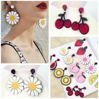 Women Chic Fruit Flower Floral Acrylic Ear Drop Dangle Stud Earrings Fashion