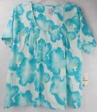 Caribbean Joe Shirt Top Blouse Women's Plus 3X Blue White Tropical Gathered Neck