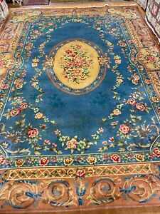 10' x 14' Chinese Aubusson Oriental Rug - Full Pile - Hand Made - 100% Wool