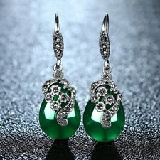 Vintage Antique Style 990 Pure Silver Green Natural Chrysoprase Earring IE7