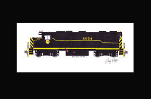 """Gateway Western GP38 #2024 11""""x17"""" Matted Print Andy Fletcher signed"""