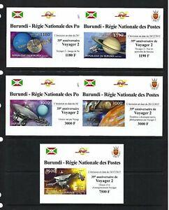 Burundi 2012 Sc#1262a-d,#1287  Voyager 2-35th Anniversary  MNH Imperf Set $20.80