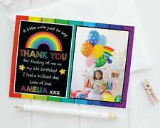 10 Personalised Photo Thank You Cards Rainbow Birthday Thank You Notes Children