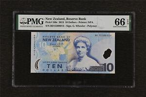 2013 New Zealand Reserve Bank 10 Dollars Pick#186c PMG 66 EPQ Gem UNC