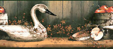 Swan Geese Berry Apple Crate Country Black Rustic Wooden Shelf Wallpaper Border