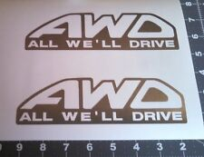 Pair of AWD all we'll drive decals in polished silver (chrome) sticker subaru