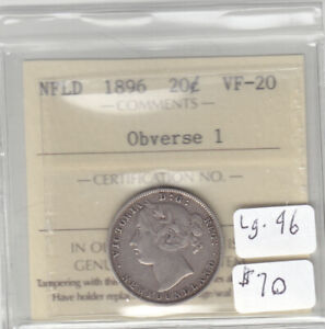 1896 OBV1 NEWFOUNDLAND 20 CENT COIN ICCS VF-20