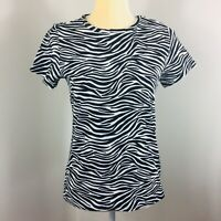 Michael Kors Women's Top short Sleeve Black White Animal Print Size S Cotton   2