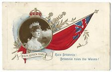 HM Queen Mary on Embossed Patriotic Card RP by Davidson, Used