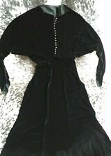 WOW! Auth 1930's Art Deco Silk Velvet Batwing Black Maxi Dress Sz S Vintage