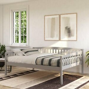 Gray Finish Full Size Daybed Solid Wood Home Bedroom Furniture