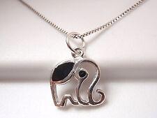 Very Small Black Onyx Elephant Pendant 925 Sterling Silver Corona Sun Jewelry