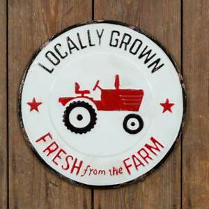 Vintage Rustic Locally Grown Fresh From The Farm Round Metal Reproduction Sign