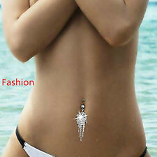 Rhinestone Tassel Navel Dangle Button Belly Ring Bar Body Piercing Jewerly Gift
