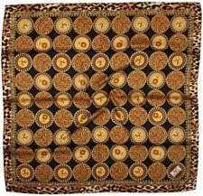 Quality Silky Square Scarf 90x90cm Head Wrap Hijab Kercief Brown Dark Blue Dots