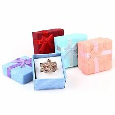 6x Jewelry Case Paper Storage Box Ring Earring Holder Package Bowknot Decor Gift