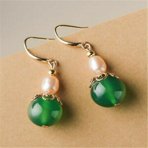 Natural Green agate pink Pearl Earrings Dangle lady gift Mother's Day Lucky