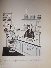 """Clifford C Lewis """"angolo di scotta"""" Originale Penna E Inchiostro CARTONE ANIMATO-Golfista Handicap (Hat) #424"""