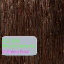 US Full Head Clip in 100% Remy Human Hair Extensions 15-26 inch Black Brown P887
