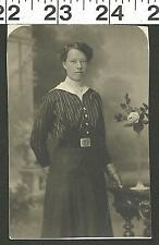 VINTAGE RPPC PHOTO OF VERY PRETTY WOMAN IN NEAT DRESS WITH BUCKLE #2808