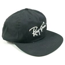Vintage Ray-Ban Snapback Hat Cap Black White Embroidery Logo Made in USA