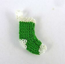 Dollhouse Miniature Artisan HALF SCALE Christmas Stocking, Green