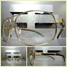 Men's CLASSIC RETRO Style Clear Lens SUN GLASSES Gold & Wood Wooden Effect Frame