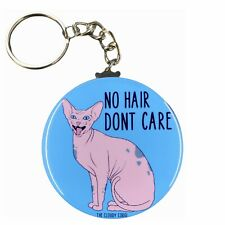 Sphynx No Hair Don't Care Keychain Hairless Cat Key Ring Gifts and Accessories