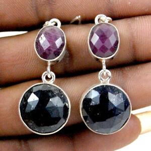 925 Sterling Silver Sapphire & Ruby Handmade Earrings Xmas Gift Women ES-1057
