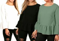 Hip Length Casual Tops & Shirts for Women with Ruffle