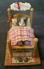 "The San Francisco Music Box Company Cat Dreaming In Bed ""Daydream Believer"""