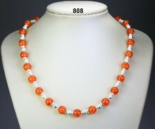 """Orange glass crackle bead necklace, stardust balls, silver-plated caps 19.5""""+2"""