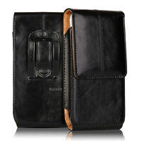 Luxury Leather VERTICAL Case Pouch for iPhone Samsung With Holster Belt Clip New