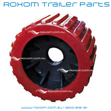 "x8 BOAT TRAILER WOBBLE ROLLERS. 3"" RED RIBBED 18-22mm Bore. Soft Wobble Roller"