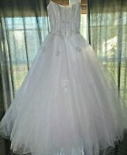 Oleg Cassini Strapless Wedding Dress White Princess Beaded Sequin Size 6