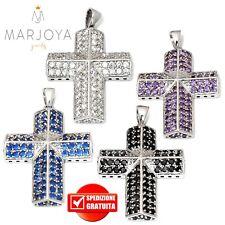 Croce pendente in argento 925 con zirconi bianchi,neri,blu e viola